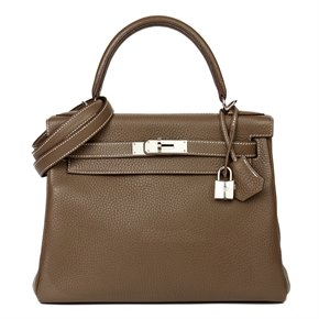 Hermès Etoupe Togo Leather Kelly 28cm Retourne