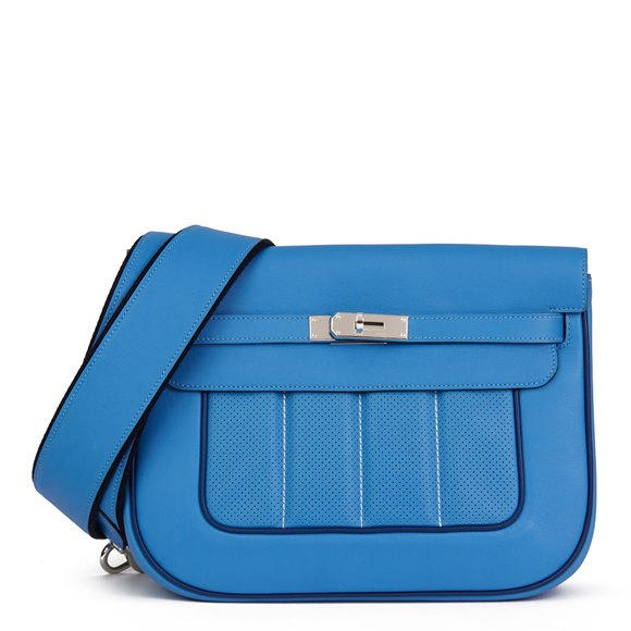 Hermès Blue Paradis & Blue Saphir Perforated Swift Leather Berlin 28cm