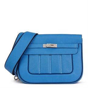 Hermès Blue Paradis & Blue Saphir Perforated Swift Leather Berlin 28cm