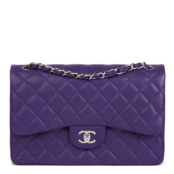 Chanel Purple Quilted Lambskin Jumbo Classic Double Flap Bag