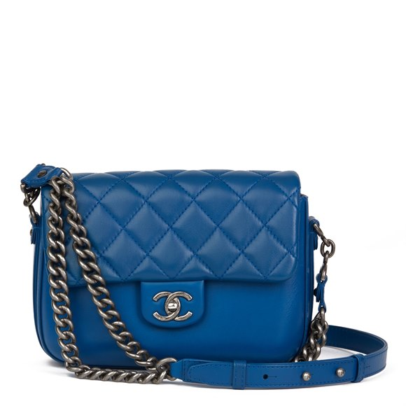 Chanel Blue Quilted Calfskin Leather Classic Single Flap Bag