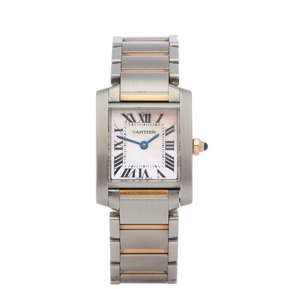 Cartier Tank Francaise Mother of Pearl Stainless Steel & Rose Gold - W51027Q4 or 2384