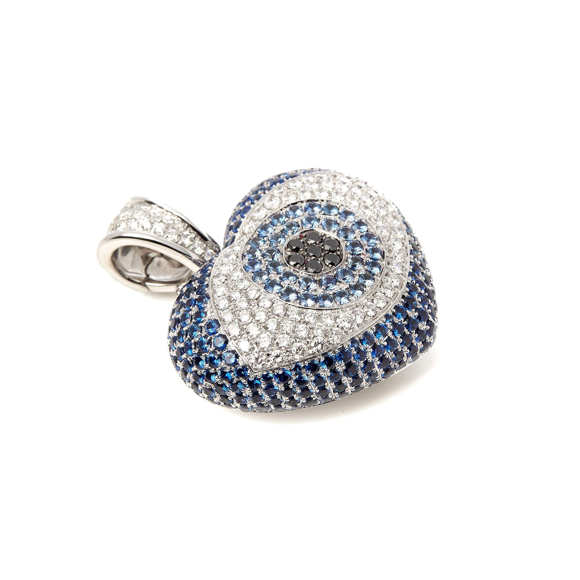 Theo Fennell 18k White Gold Diamond and Topaz Evil Eye Pendant