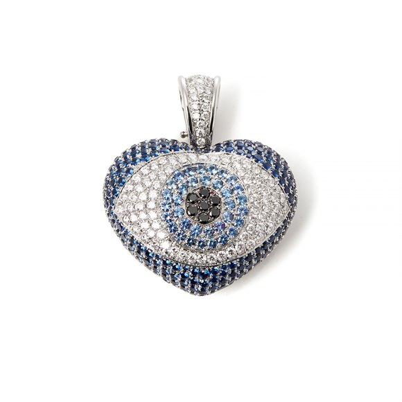 Theo Fennell 18k White Gold Diamond and Topaz Evil Eye Pendant