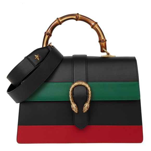 Gucci Black, Green & Red Smooth Calfskin Leather Large Dionysus Bamboo Top Handle