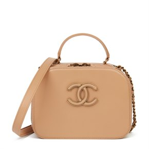 Chanel Warm Beige Lambskin & Quilted Goatskin Leather Small Coco Curve Vanity Bag