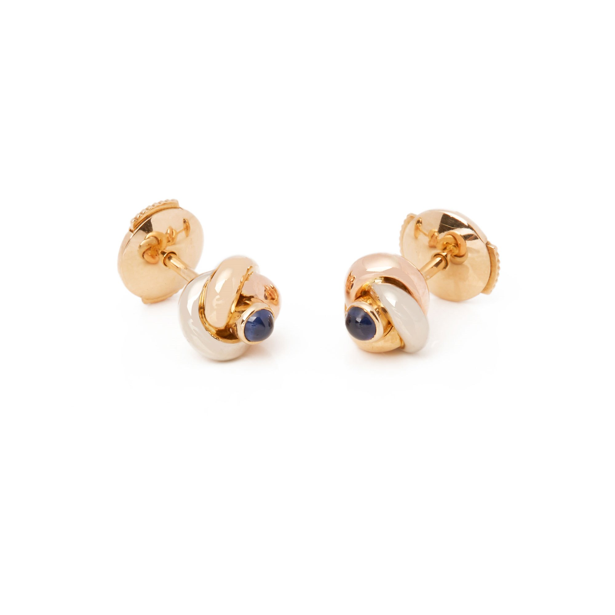 Cartier Trinity Sapphire cabochon Knot stud 18ct gold earrings