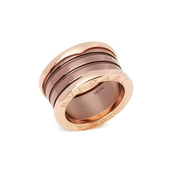 Bulgari B Zero1 Roma Four Band 18ct Rose Gold and Bronze Ceramic Ring