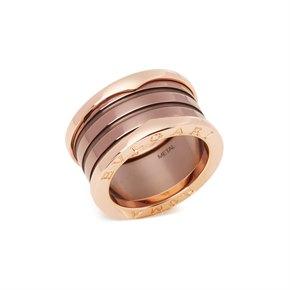 Bulgari B Zero1 Roma Four Band 18ct Rose Gold and Bronze Ceramic Ring