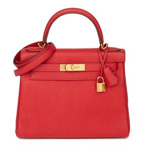 Hermès Rouge Casaque Clemence Leather Kelly 28cm Retourne