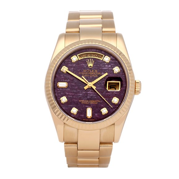 Rolex Day-Date 36 Rubellite Diamond 18K Yellow Gold - 118238