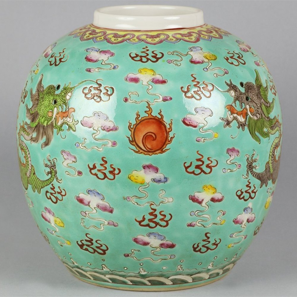 TURQUOISE IMPERIAL DRAGON JAR 19th Century