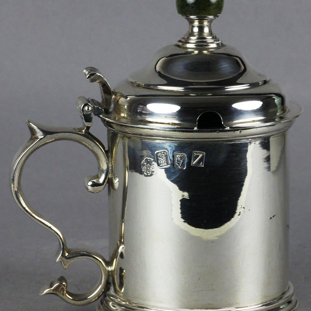 IRISH SILVER MUSTARD POT Silver assay marks for 1967
