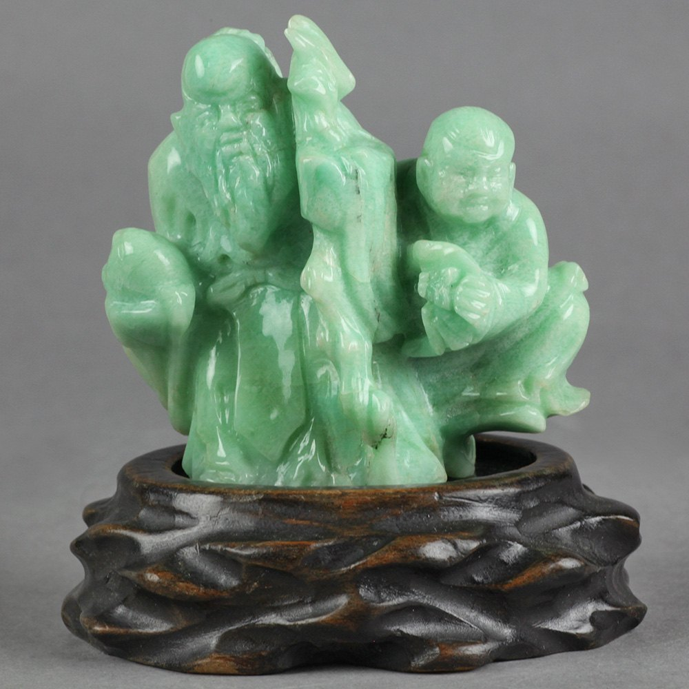 Unusual Antique Chinese Carved Turquoise Hardstone Figure On Stand Early 20th C.