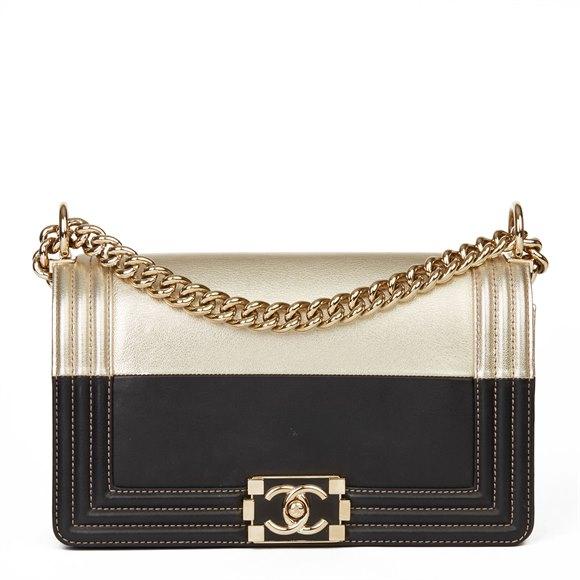 Chanel Black Lambskin & Gold Chevre Goatskin Leather Le Boy