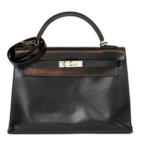 Hermès Black Box Calf Leather Kelly 32cm
