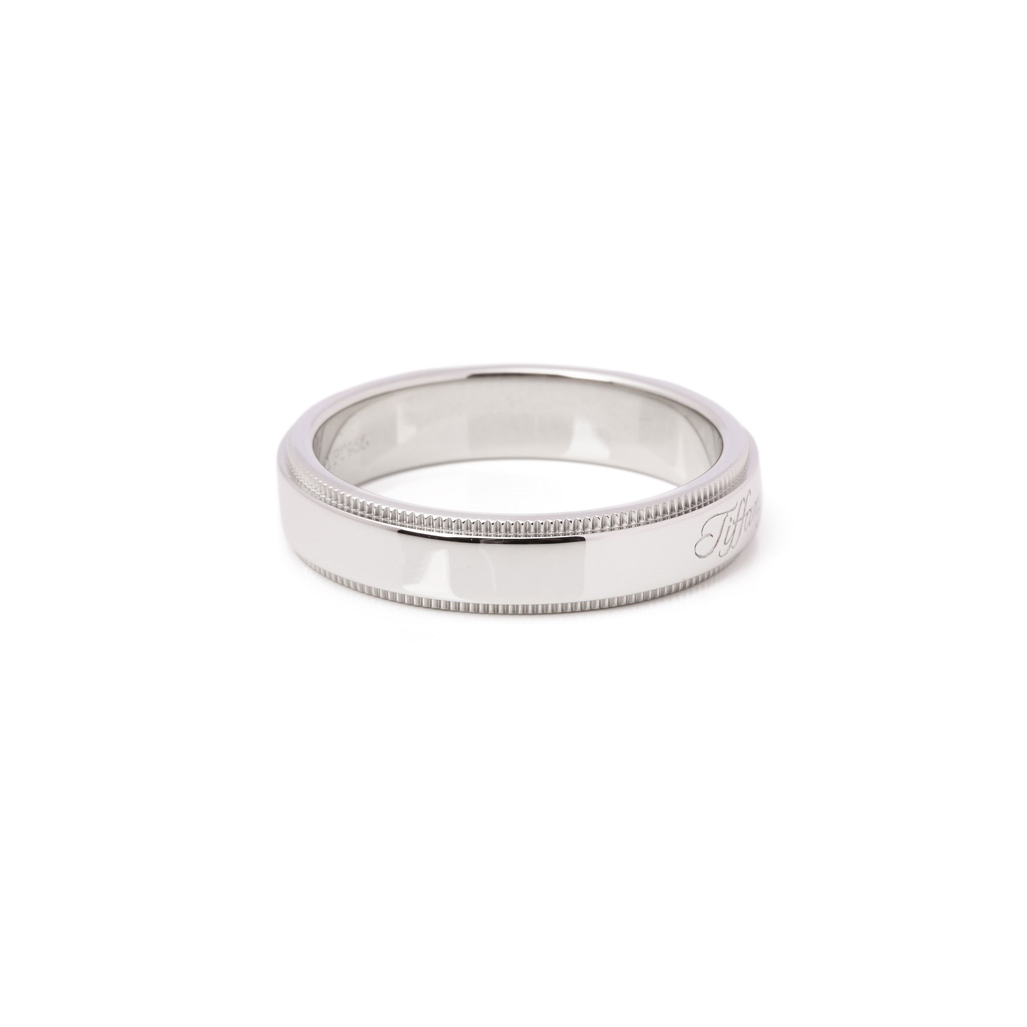 Tiffany & Co. Notes Milgrain Platinum Band Ring