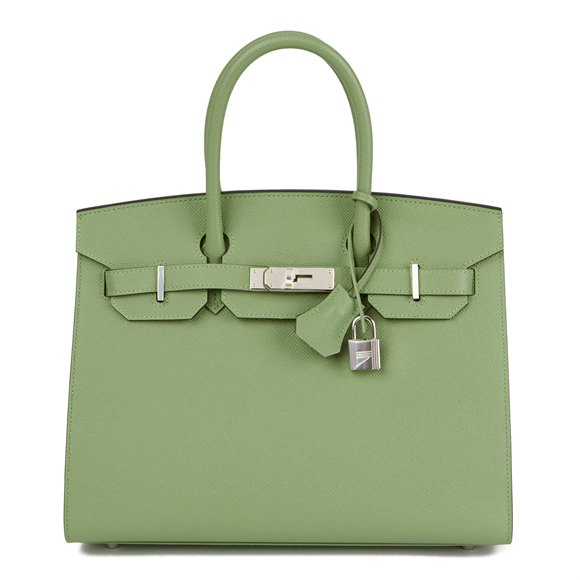 Hermès Vert Criquet Epsom Leather Birkin 30cm Sellier