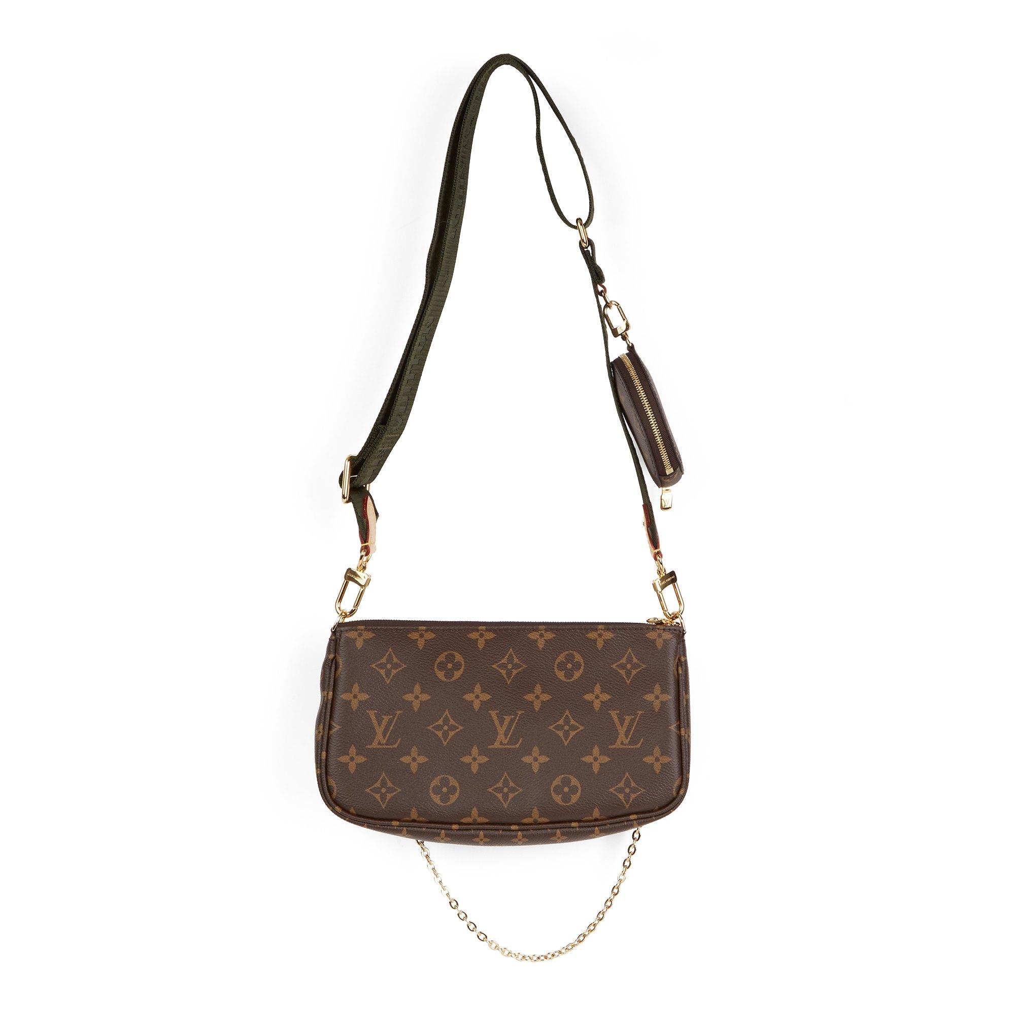 Louis Vuitton Brown Coated Canvas, Khaki Jacquard Multi Pochette Accessoires