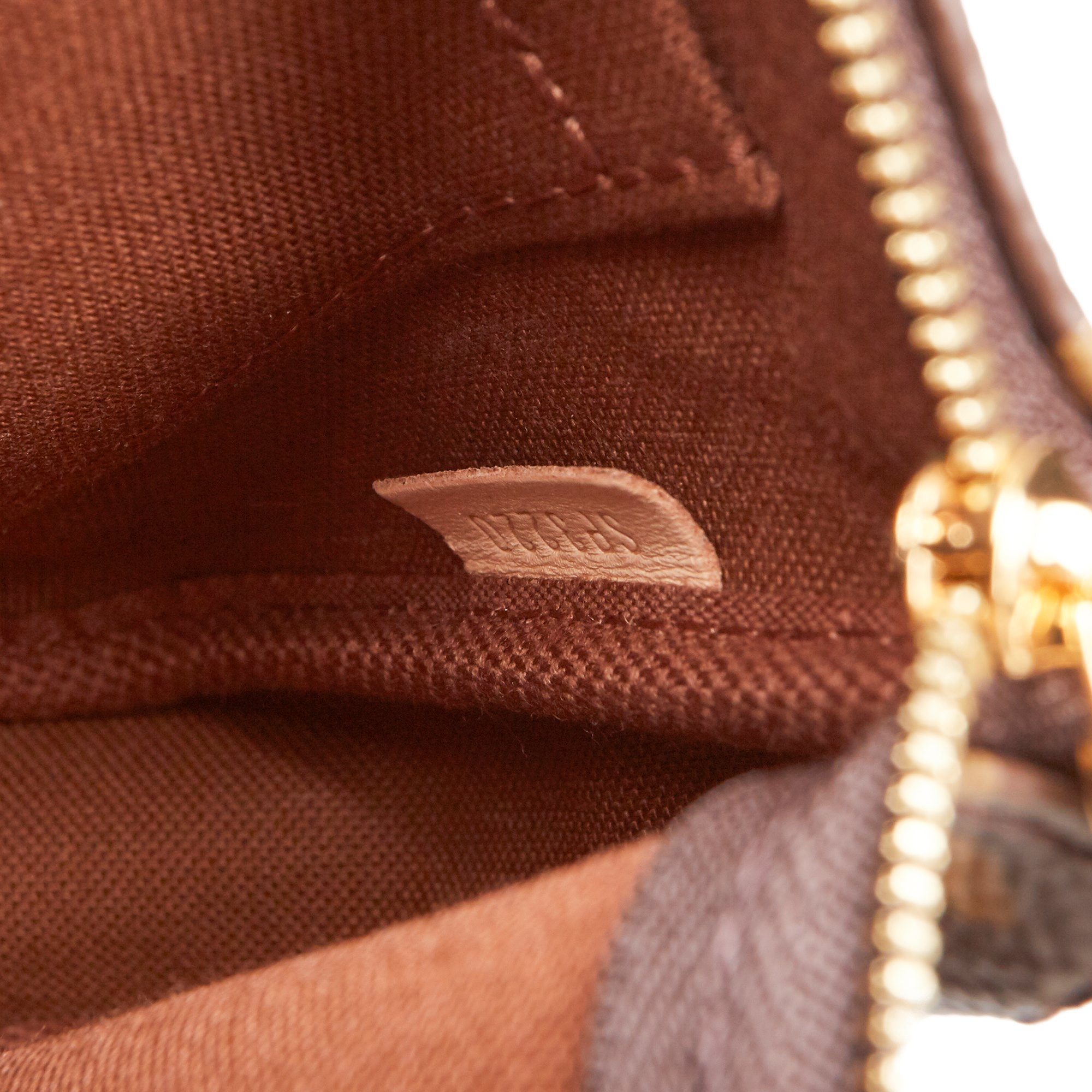 Louis Vuitton Brown Coated Canvas, Rose Chiaro Jacquard Multi Pochette Accessoires