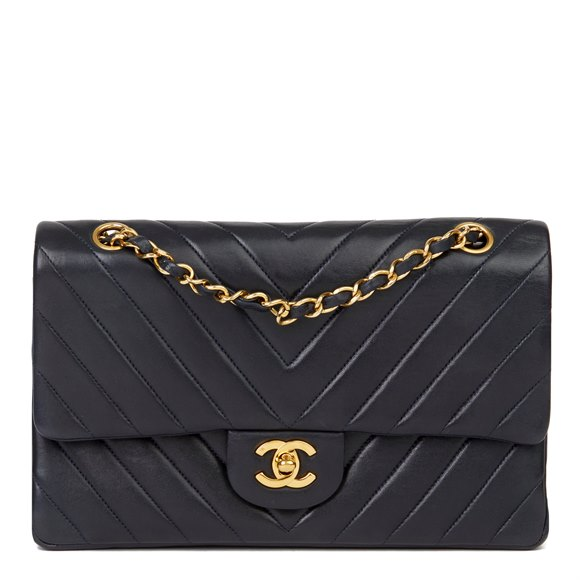 Chanel Navy Quilted Chevron Vintage Medium Classic Double Flap Bag
