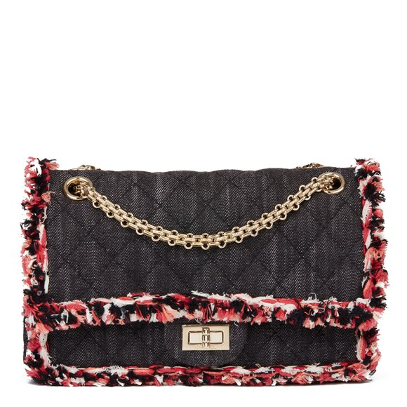 Chanel Black Quilted Denim & Pink Tweed 2.55 Reissue 225 Double Flap Bag