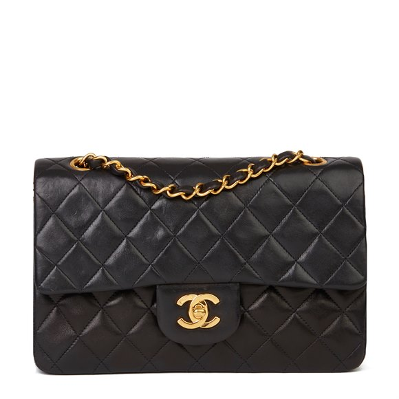 Chanel Black Quilted Lambskin Vintage Small Classic Double Flap Bag