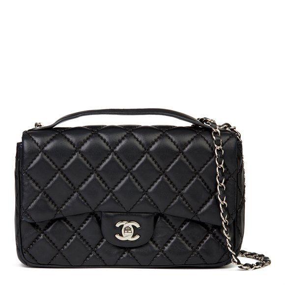 Chanel Black Quilted Lambskin Medium Easy Carry Flap Bag