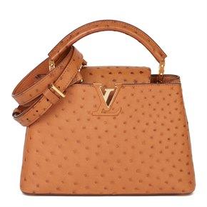 Louis Vuitton Tan Ostrich Leather Capucines BB
