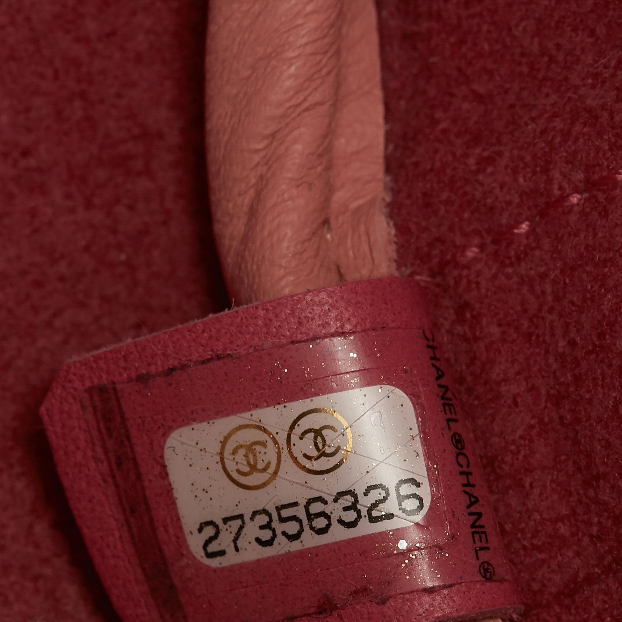 Chanel Pink Calfskin Leather Logo Eyelets Shopping Tote with Tweed Pouch