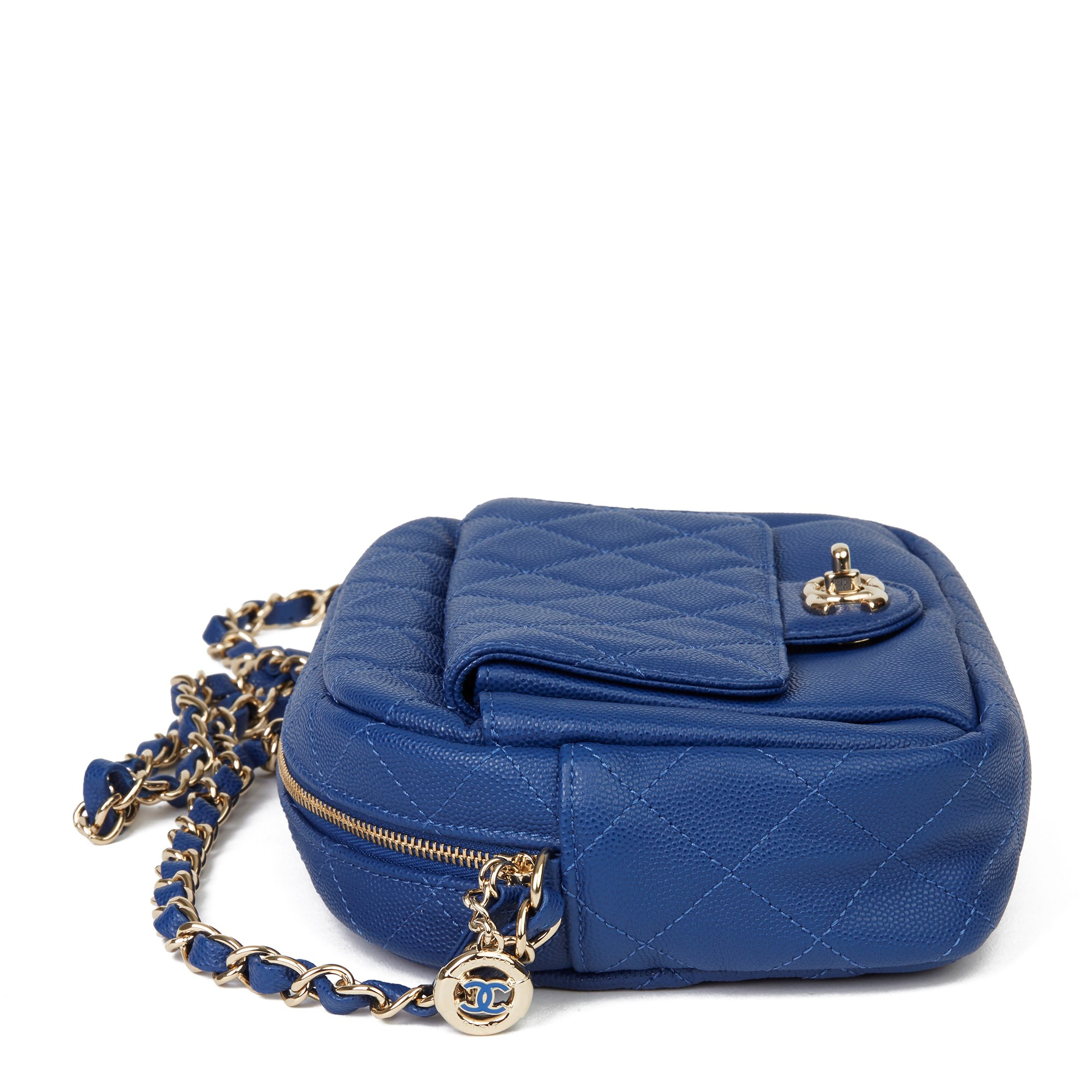 Chanel Electric Blue Quilted Caviar Leather Medium CC Day Camera Case