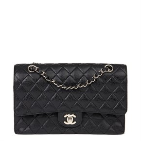 Chanel Black Quilted Caviar Leather Medium Classic Double Flap Bag