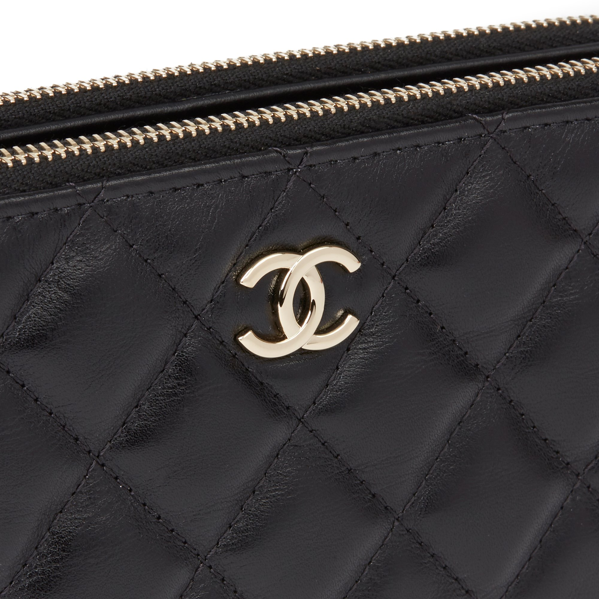 Chanel Black Quilted Lambskin Pearl Embellished Double Zip Wallet-on-Chain WOC