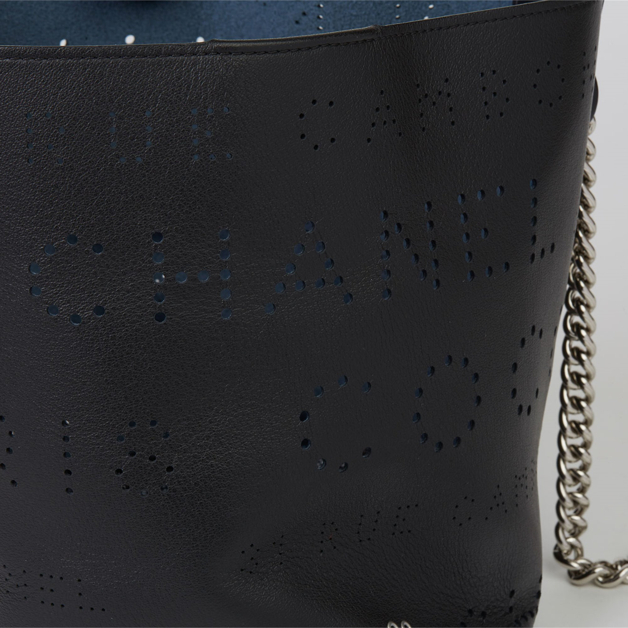 Chanel Black Perforated Calfskin Leather Logo Eyelets Bucket Bag with Tweed Pouch