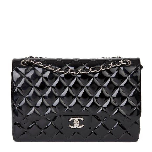 Chanel Black Quilted Patent Leather Jumbo Double Flap Bag