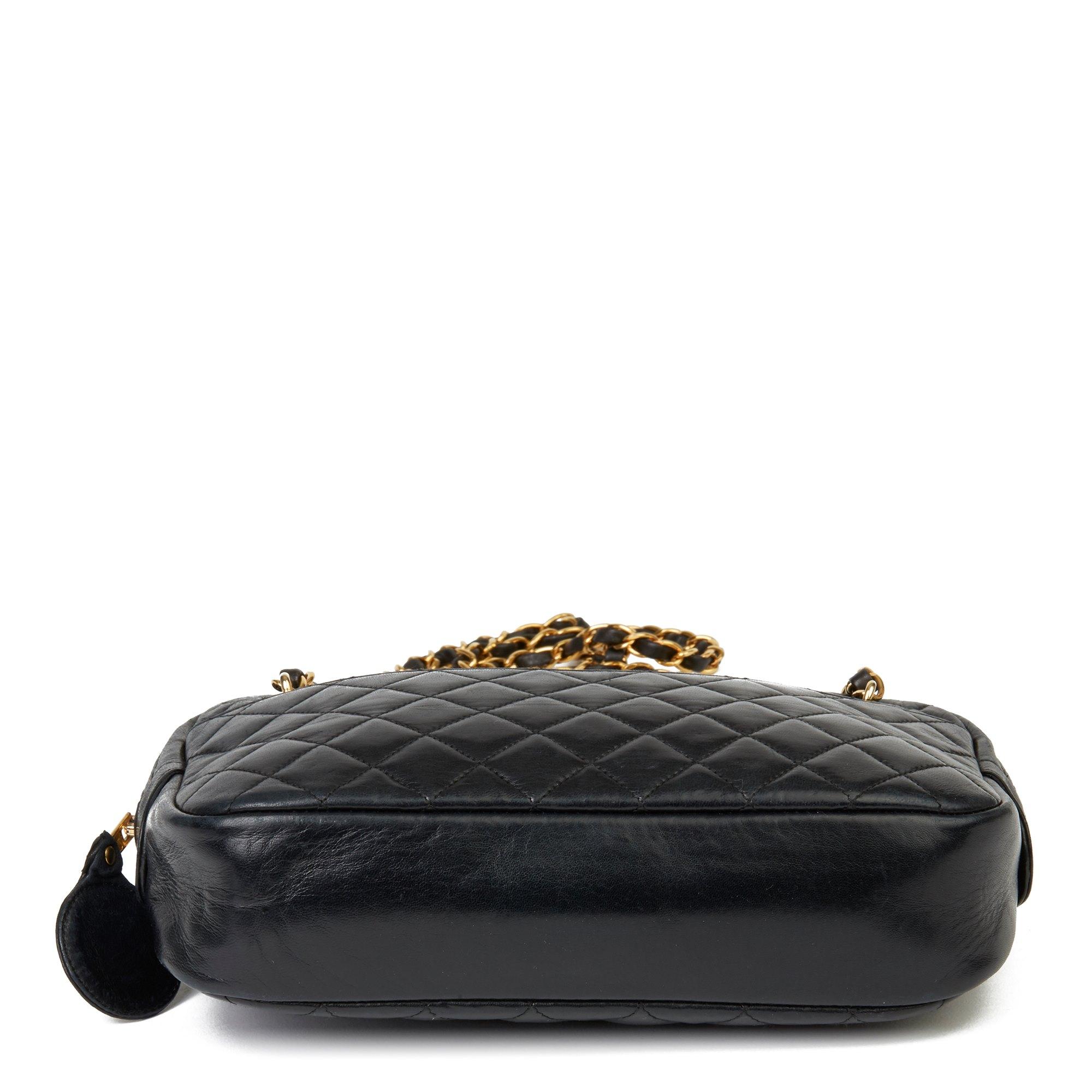 Chanel Black Quilted Lambskin Vintage Timeless Camera Bag