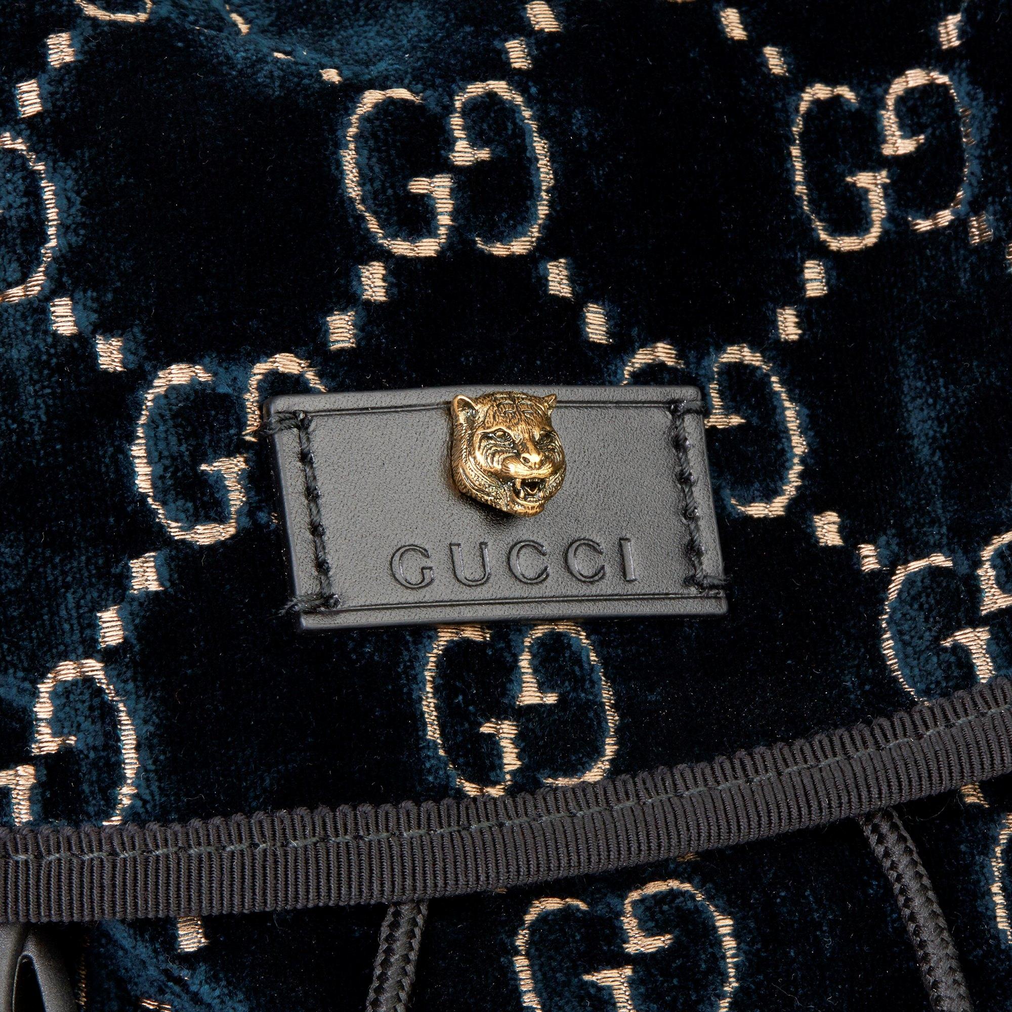 Gucci Dark Blue GG Velvet Web Large Backpack