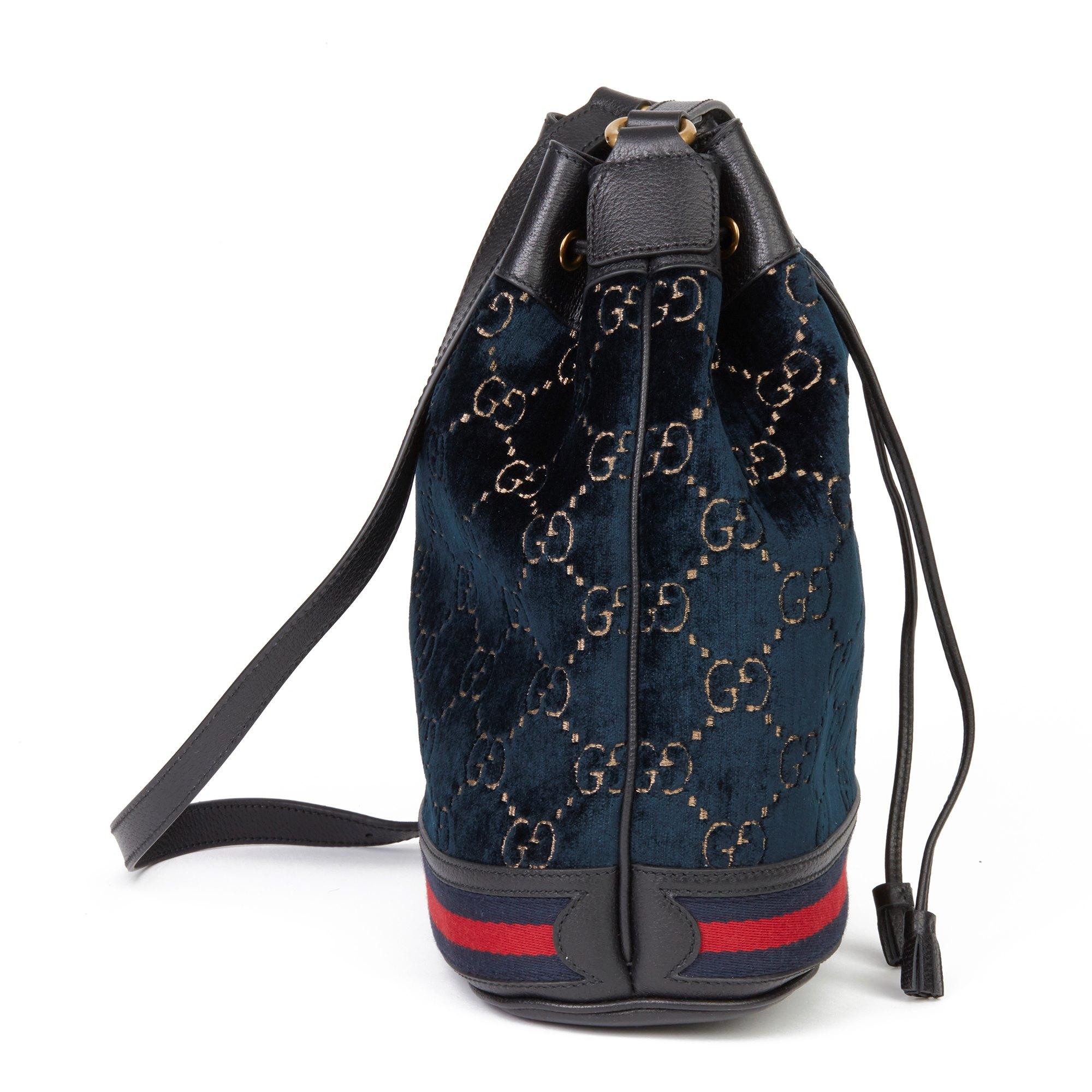 Gucci Dark Blue GG Velvet & Black Pigskin Leather Web Bucket Bag
