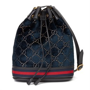 Gucci Dark Blue GG Velvet & Black Pigskin Leather Web Bucket Bag