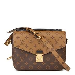 Louis Vuitton Brown Monogram Coated Canvas & Black Calfskin Leather Reverso Pochette Metis