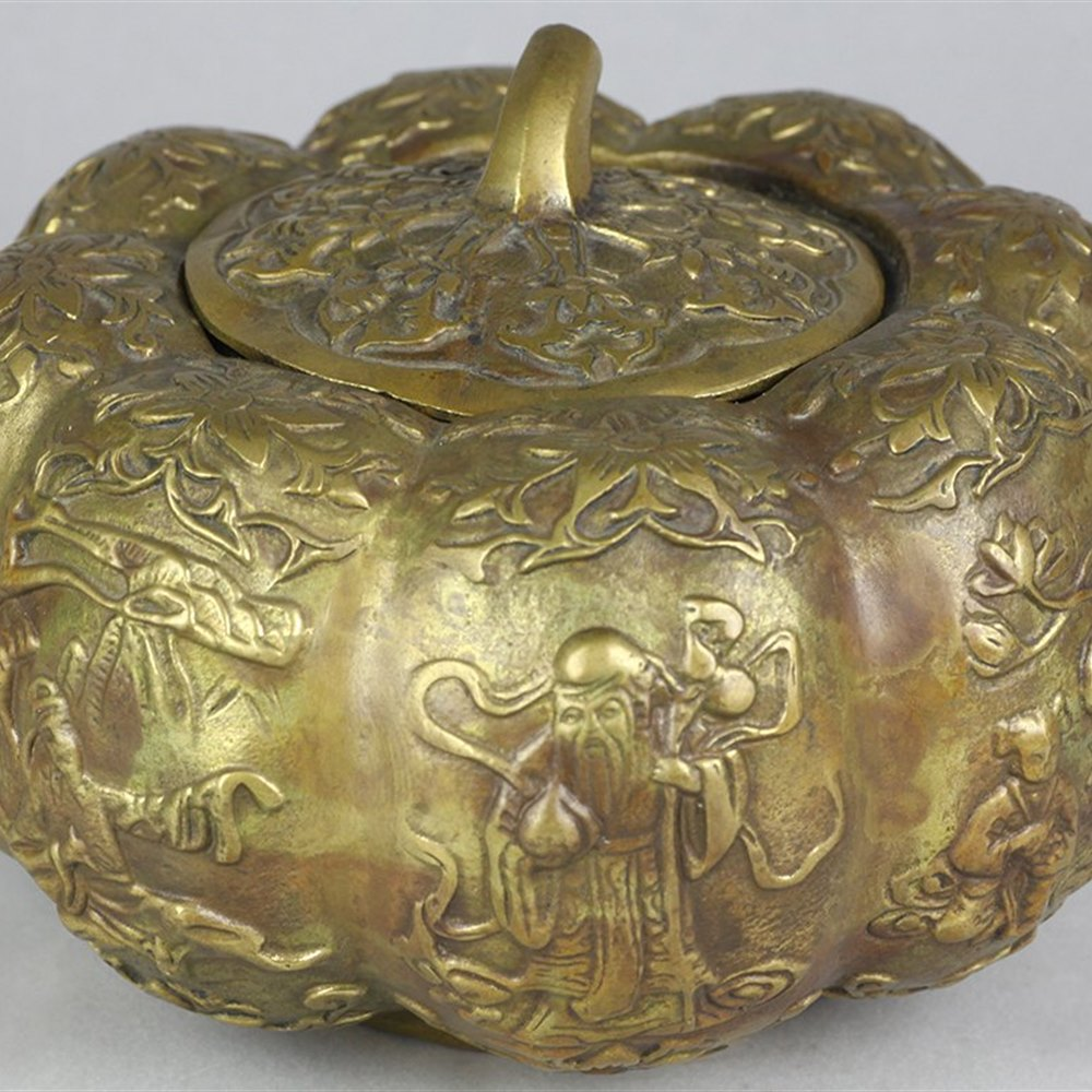Superb Chinese Bronze Gourd Shaped Lidded Pot With Figures 19/20th C.