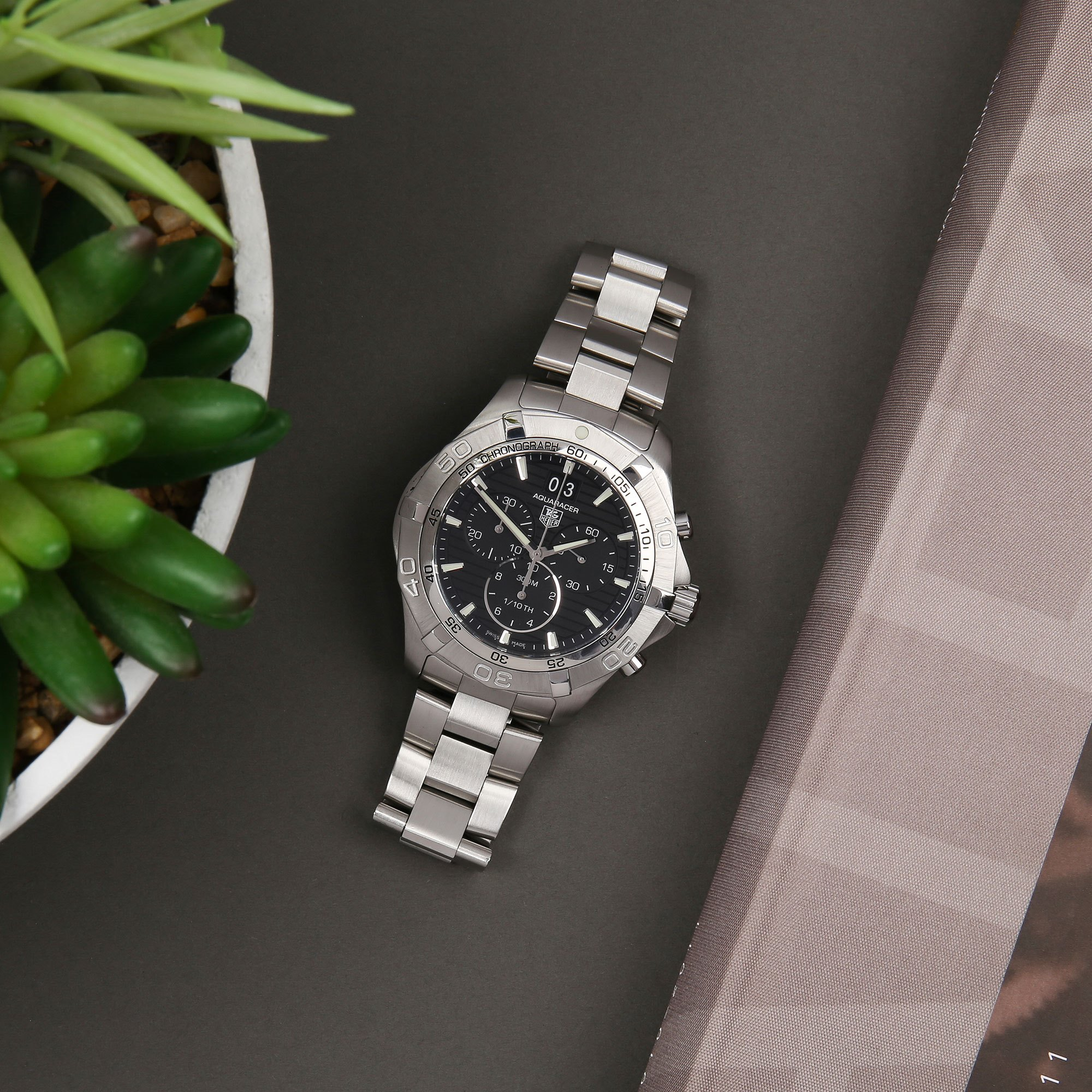 Tag Heuer Aquaracer Chronograph Roestvrij Staal CAF101E