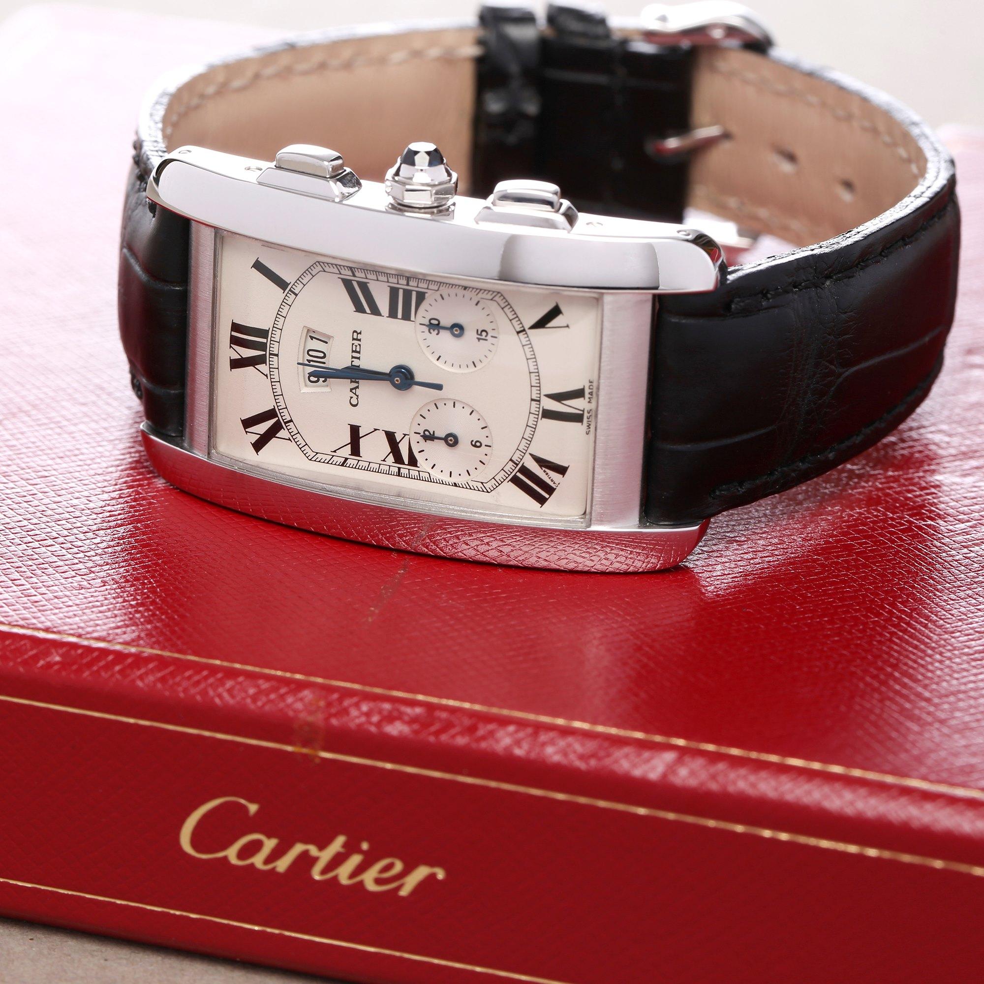 Cartier Tank Americaine Chronoreflex Chronograph 18K White Gold 2569