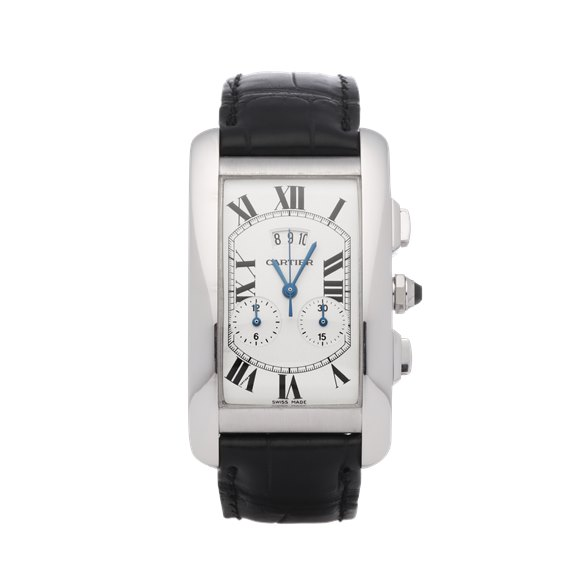 Cartier Tank Americaine Chronoreflex Chronograph 18K White Gold - 2569
