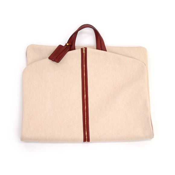 Hermès Beige Canvas & Rouge H Fjord Leather Garment Bag