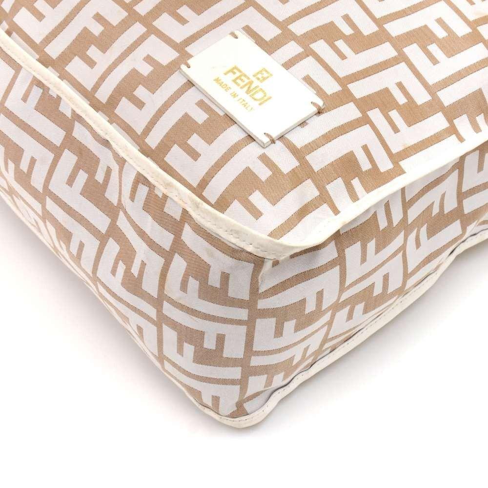 Fendi Beige & White Zucca Monogram Nylon and White Leather Messenger Bag