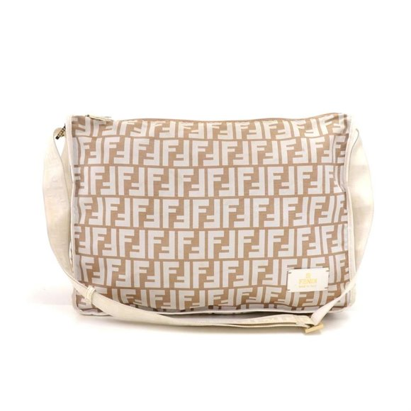 Fendi Beige & White Zucca Monogram Nylon and White Leather Messenger Bag