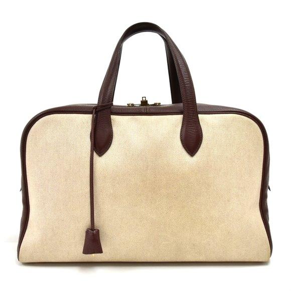 Hermès Beige Canvas & Burgundy Leather Victoria 45