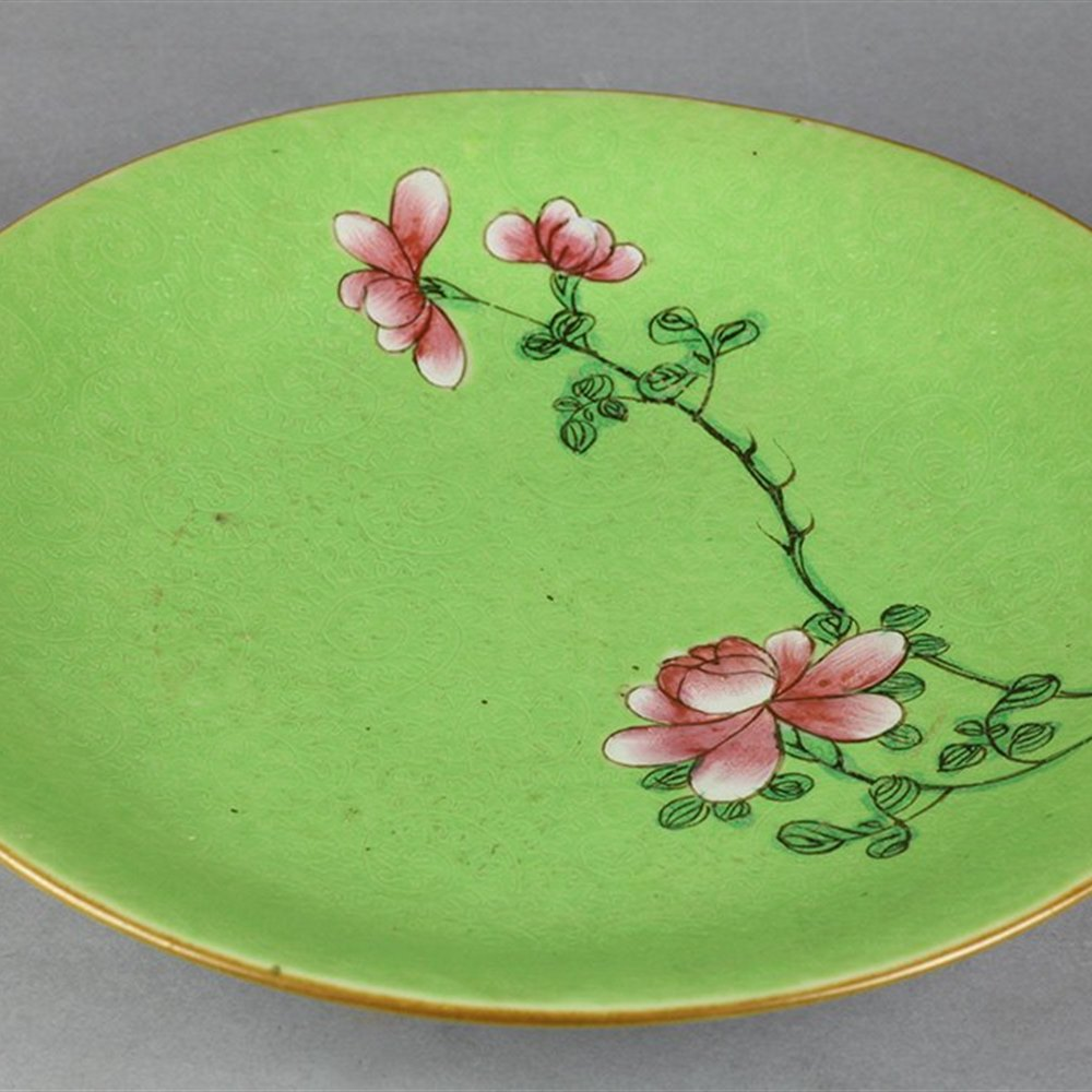 Antique Chinese Qianlong Incised Plate With Famille Rose Floral Design 18th C.