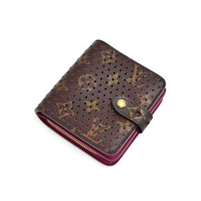Louis Vuitton Brown Perforated Monogram Coated Canvas Fuchsia Compact Wallet